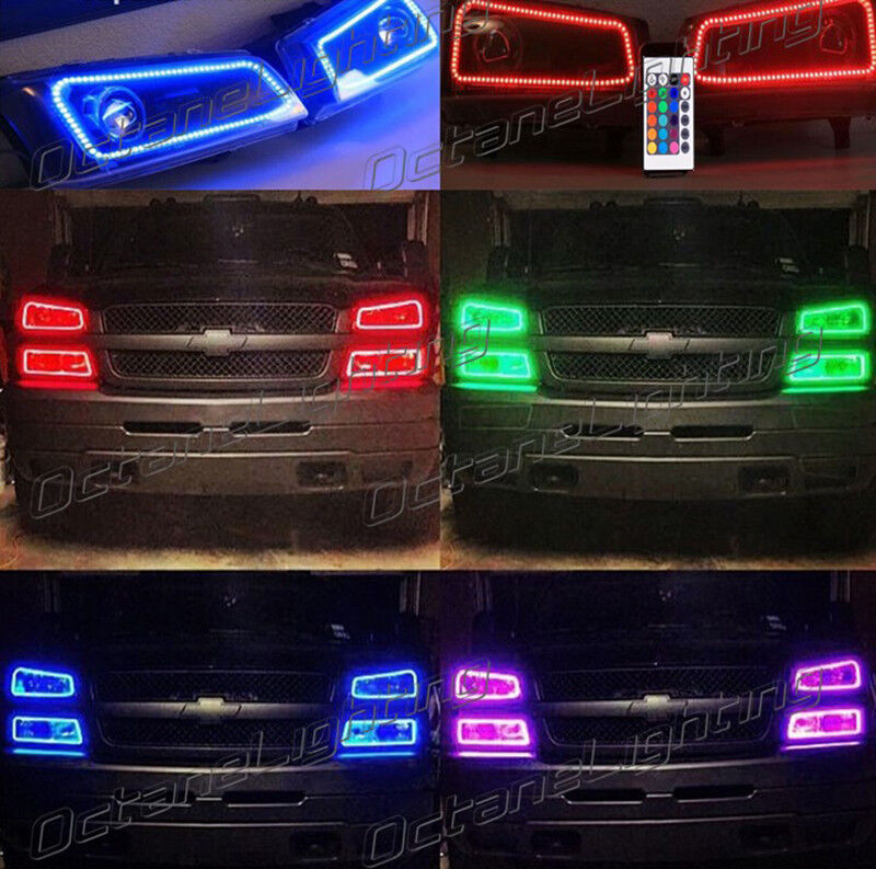color changing halo parts accessories 03 06 chevy silverado multi color changing shift led rgb headlight halo ring set