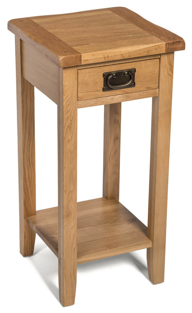 Small oak side table narrow wooden end lamp bedside for Small wooden side table