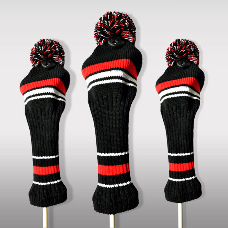 Hot Golf Club Head Covers Woods Hybrid Knitted Pom
