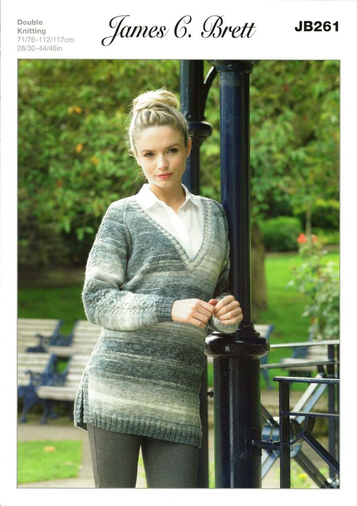 787972175 James C Brett JB261 Knitting Pattern Sweater in James C. Brett Woodlander DK  5055559604556