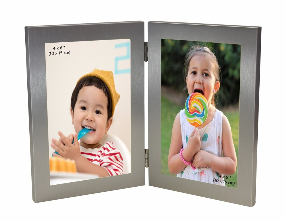 silver colour twin 2 picture vertical double folding photo frame 4 x 6 ebay. Black Bedroom Furniture Sets. Home Design Ideas