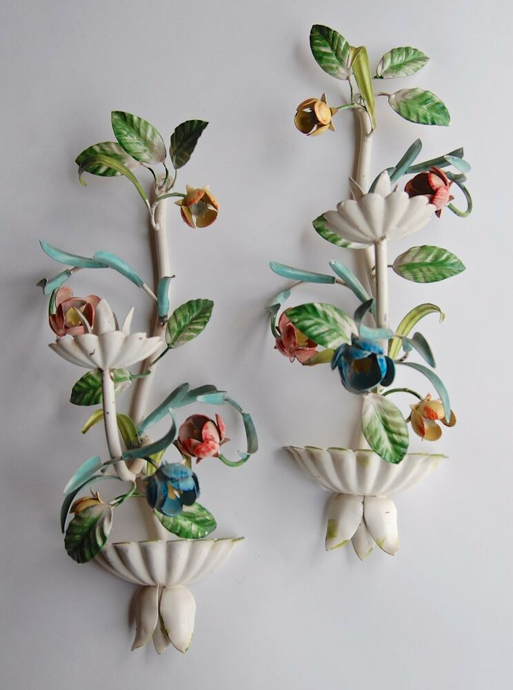 Wall Sconces For Plants : ANTIQUE VTG ITALIAN METAL TOLE LEAVES & FLOWERS SCONCE WALL CANDLE HOLDER PAIR eBay
