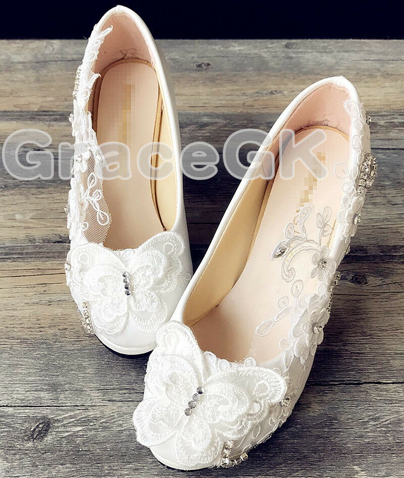 cb05e2ec0b8c Details about Lace white ivory crystal Wedding shoes Bridal flats low high  heel pump size 3-10