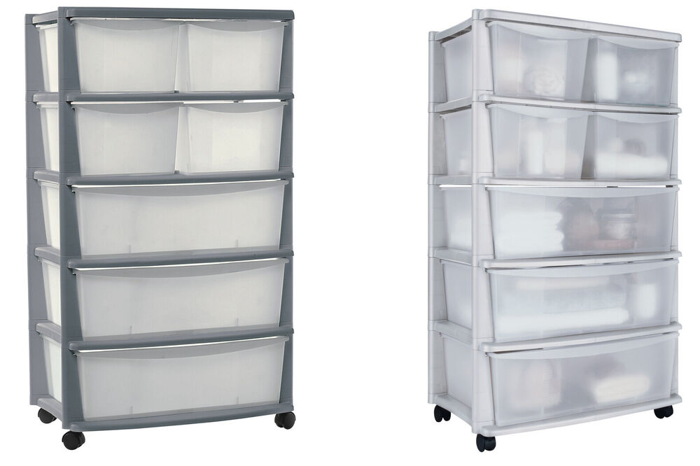 Home drawer plastic wide storage chest choice of white