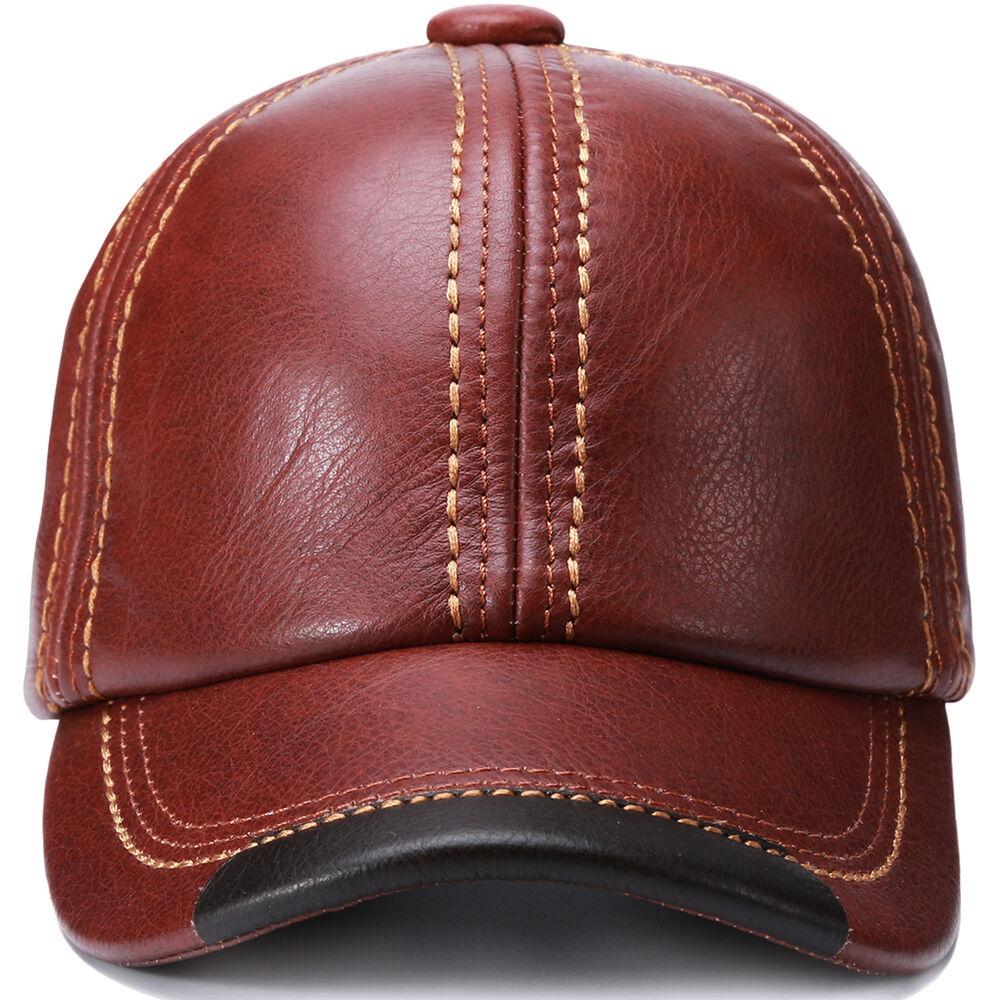 b9909c4fd46b6 ... Vintage Men S Hats  Adjustable Guarantee Genuine Cow Leather Baseball  Cap