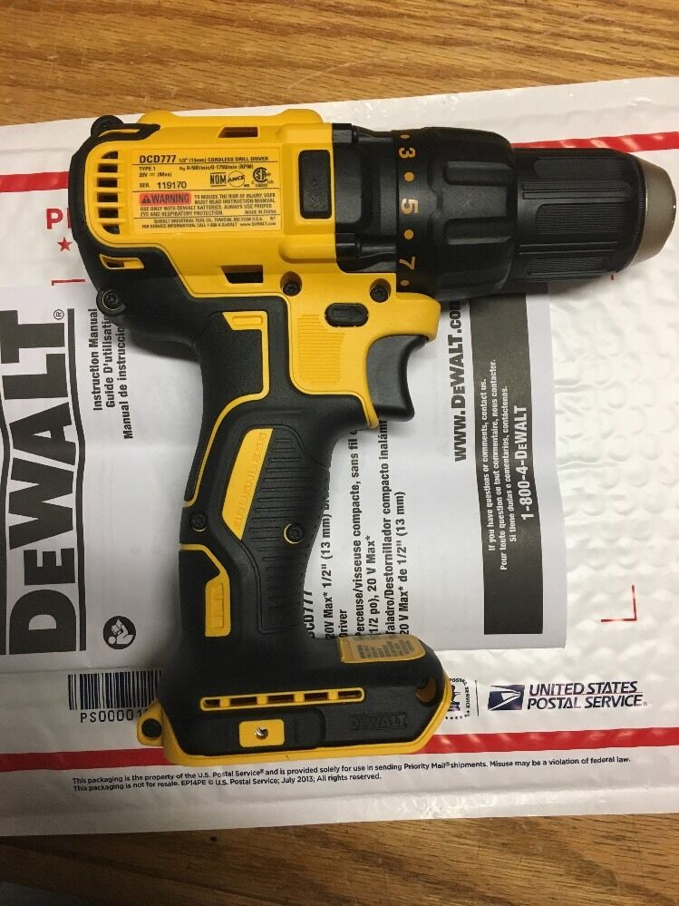 New dewalt dcd777b 1 2 20 volt 20v max brushless drill for Dewalt 20v brushless motor