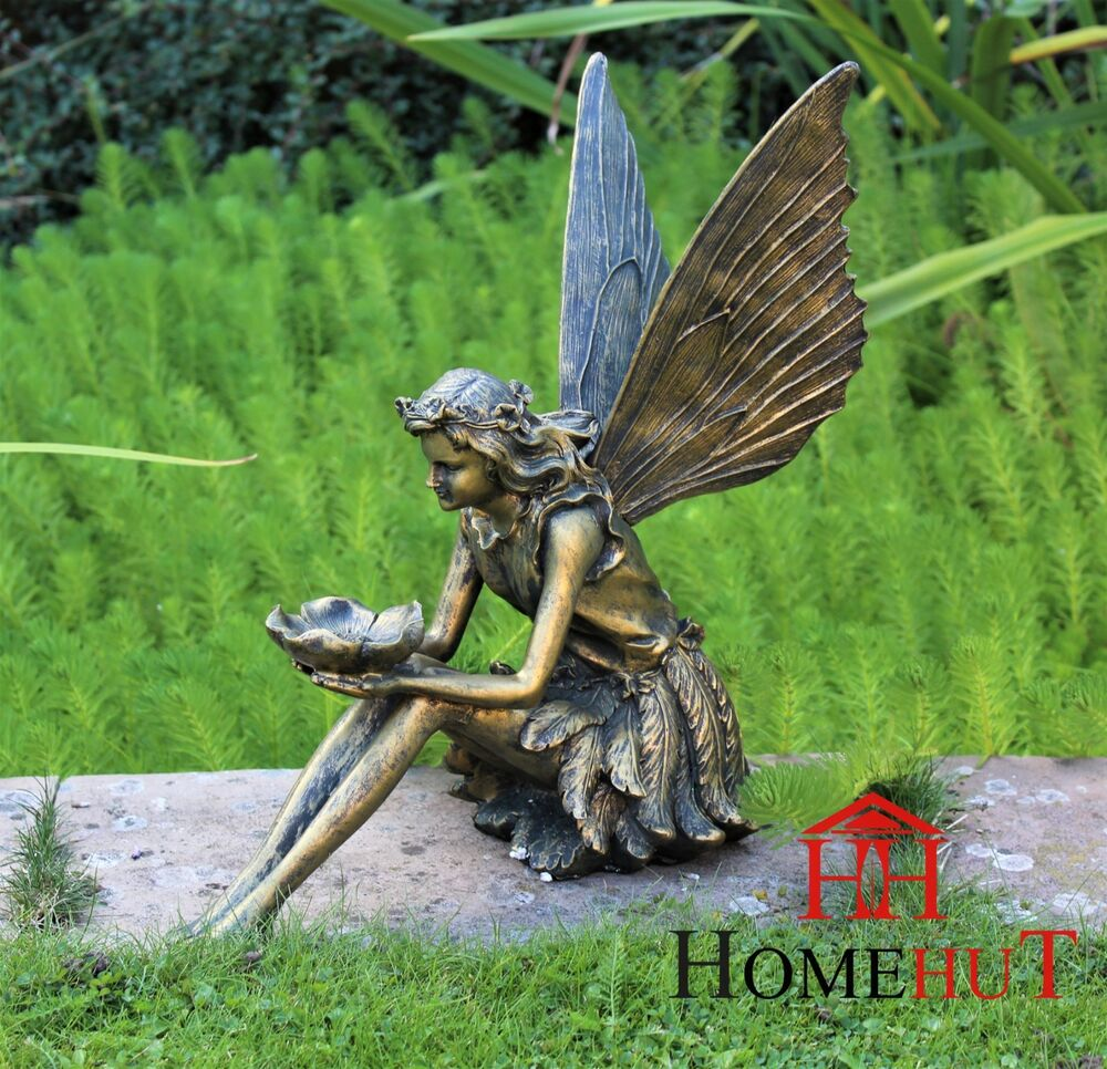 Large garden ornament sitting fairy sculpture antique for Large outdoor ornaments