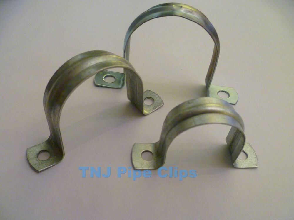 Steel Pipe Clips : Steel saddle band pipe clip fixing zinc plated qty
