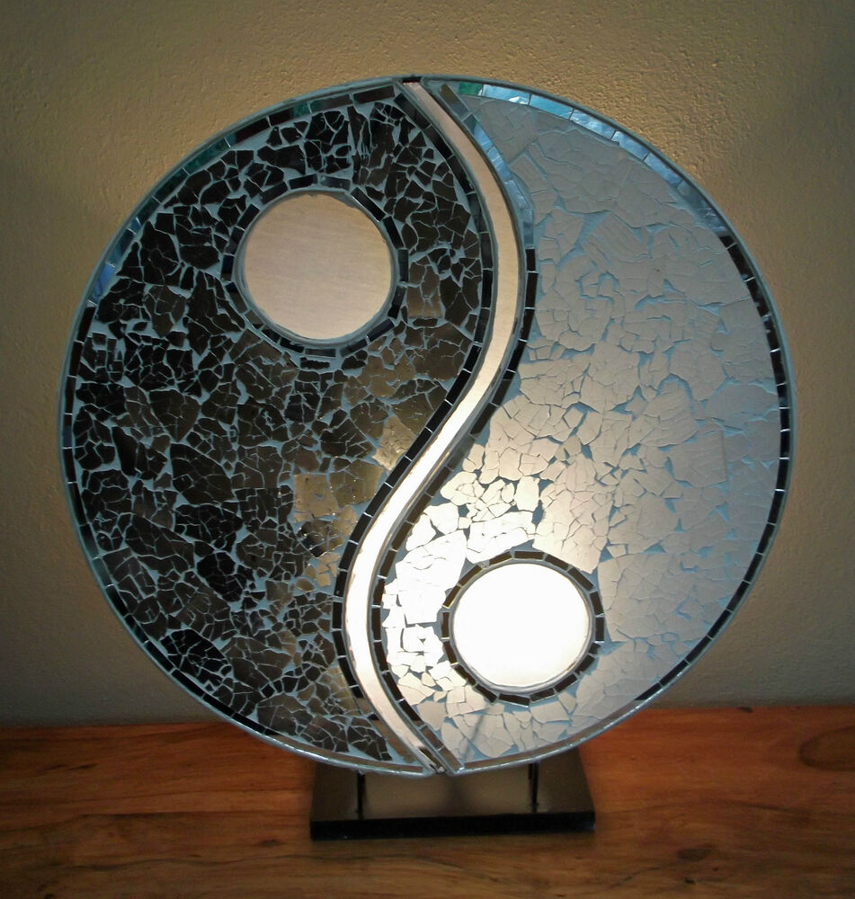Unusual black white hand made bali lamp mosaic ying for Table yin yang