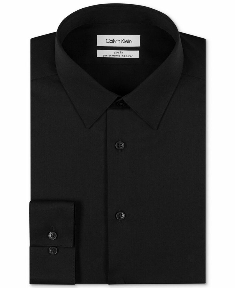 115 calvin klein men black slim fit non iron long sleeve for Calvin klein athletic fit dress shirt