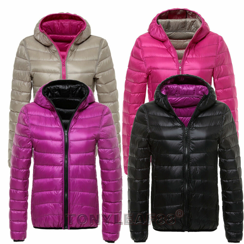 Womens 90 Duck Down Reversible Puffer Jacket Ultra Light