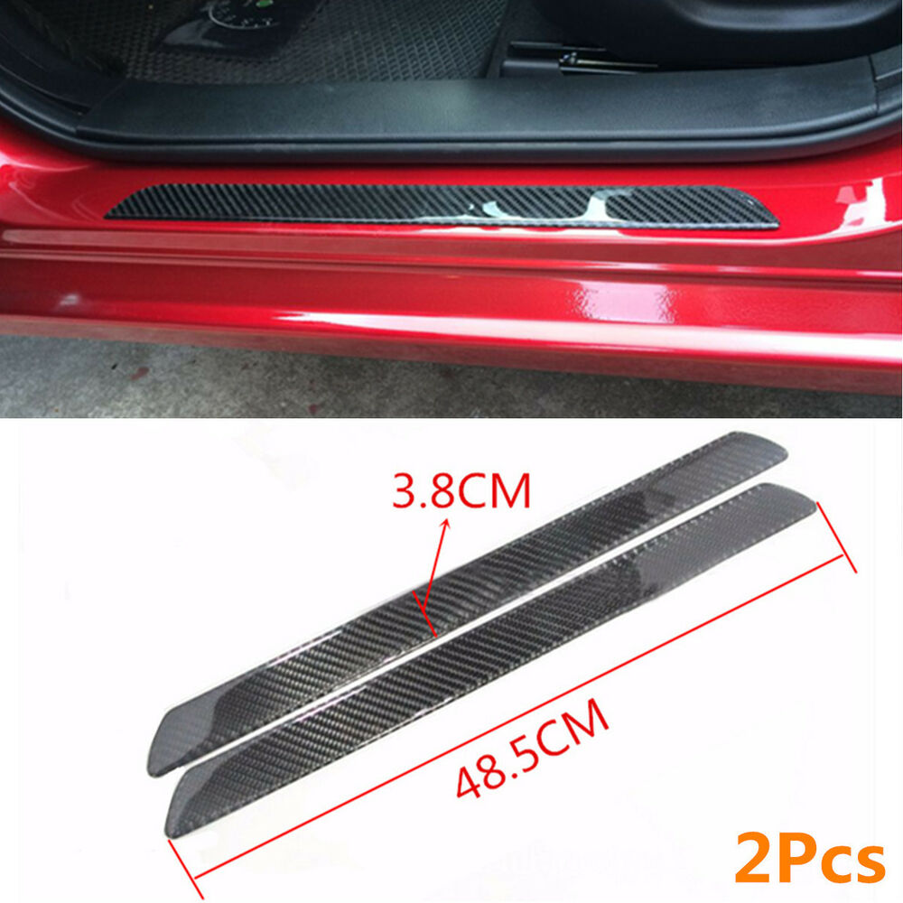 2x carbon fiber car scuff plate door sill panel step protector guard cover 49cm ebay. Black Bedroom Furniture Sets. Home Design Ideas