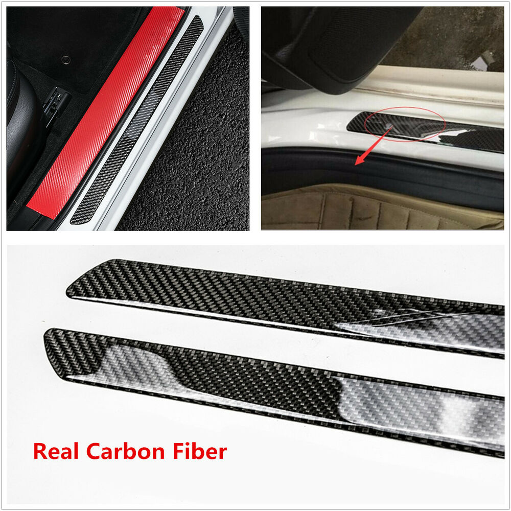 universal 2pc door sill carbon fiber car scuff plate cover panel step protector 4683812025094 ebay. Black Bedroom Furniture Sets. Home Design Ideas