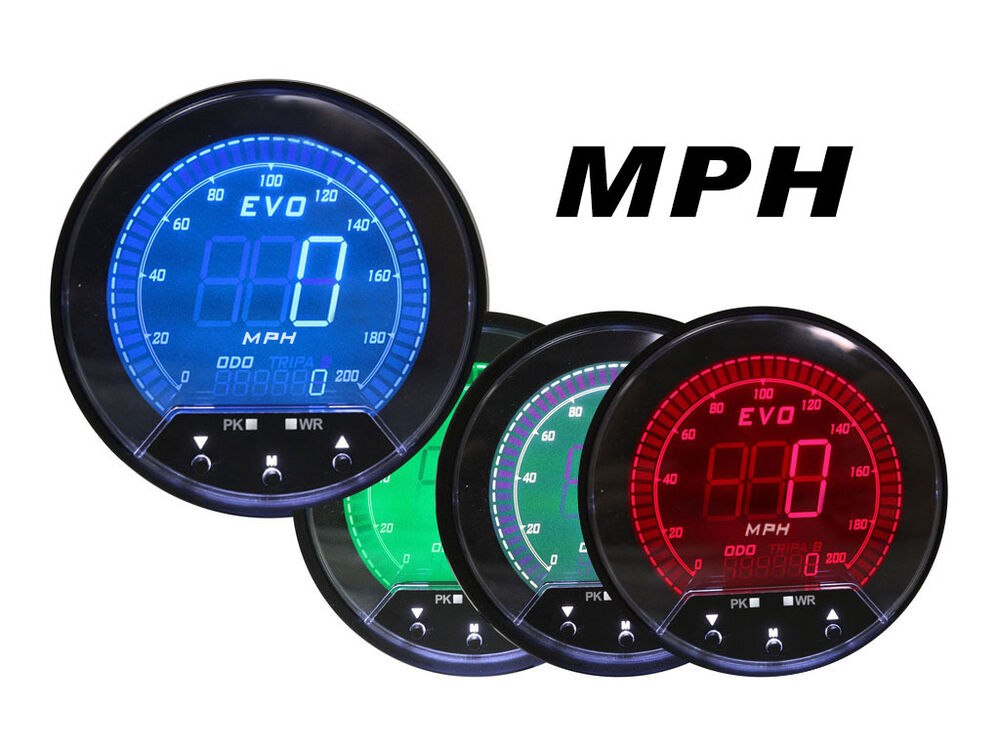 Electronic Speedometer Gauges : Mm evo digital speedometer gauge led blue red green