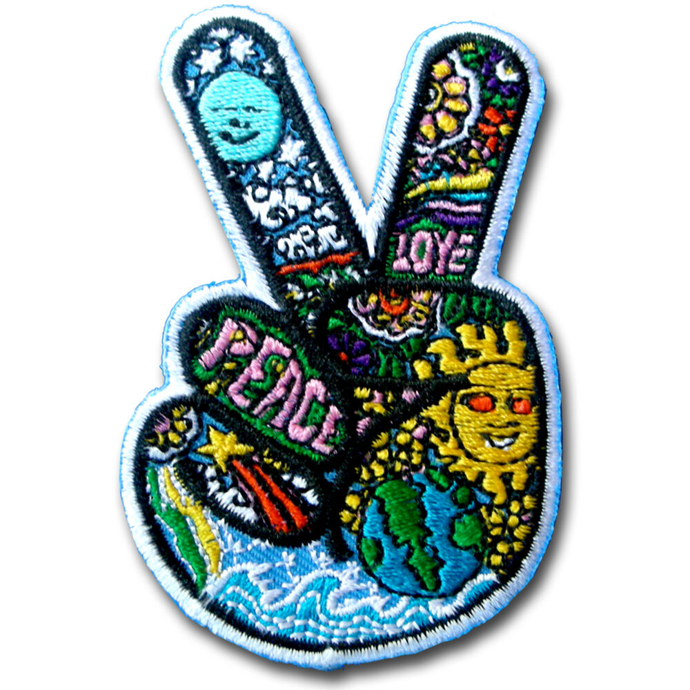 Biker Vest Patches >> Sugar Victory Hand Peace Sign Patch Iron on Tattoo Hippie Biker Sew Badge Boho | eBay