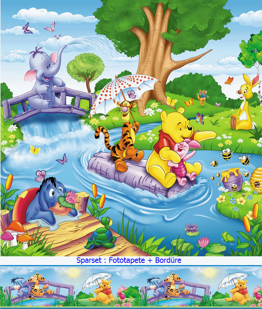 kinder fototapete bord re winnie puuh pooh tapete kinderzimmer wandbild poster ebay. Black Bedroom Furniture Sets. Home Design Ideas