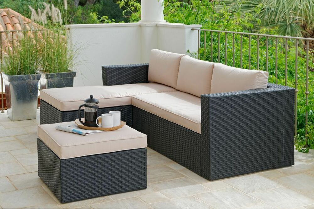 Hand Woven 3 Seater Rattan Effect Mini Corner Sofa Black From Argos On Ebay