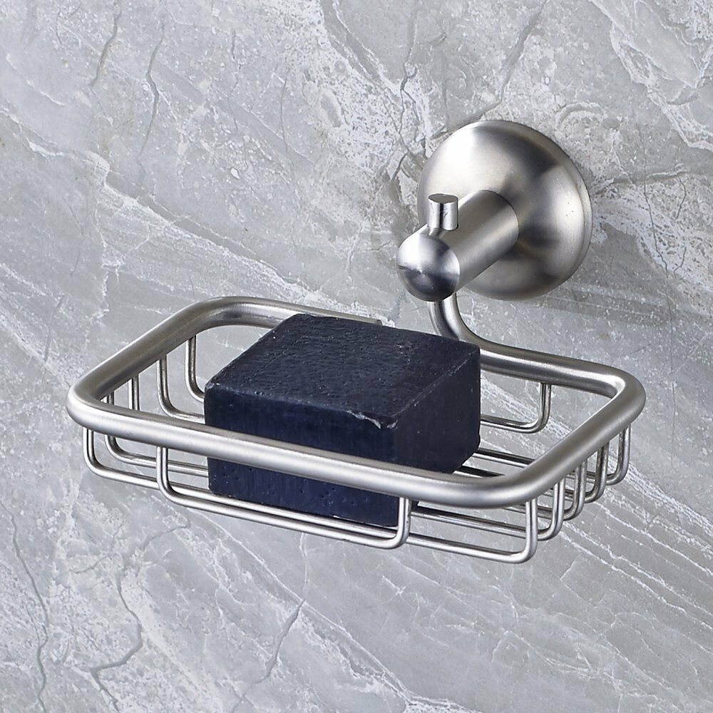 Free shipping brushed nickel bathroom soap dish holder soap basket wall mounted ebay for Wall mounted soap dishes for bathrooms