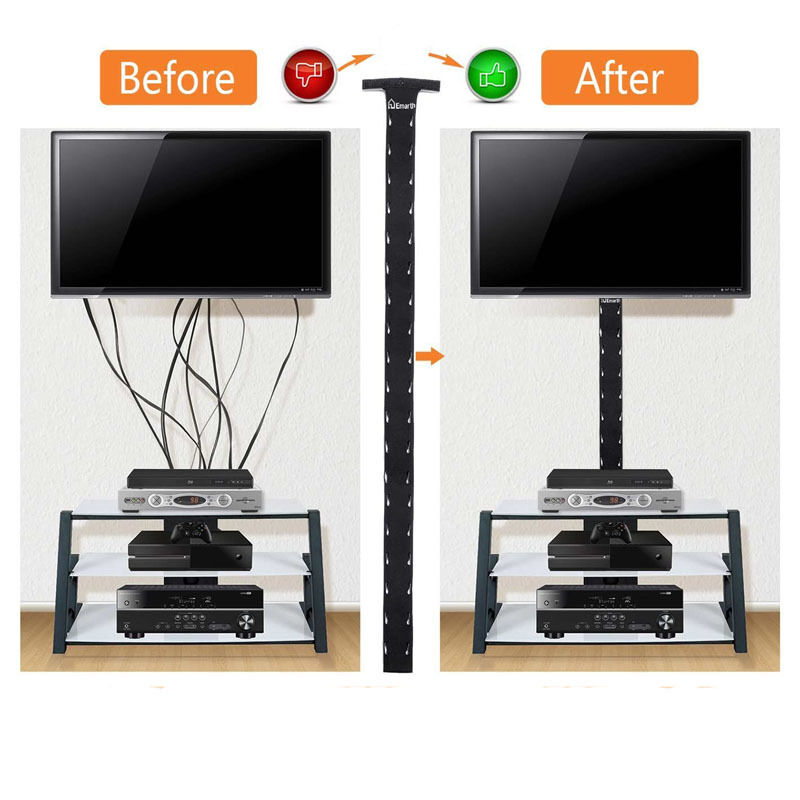 2x cable management sleeve wrap wire cord organizer system for tv computer home ebay. Black Bedroom Furniture Sets. Home Design Ideas