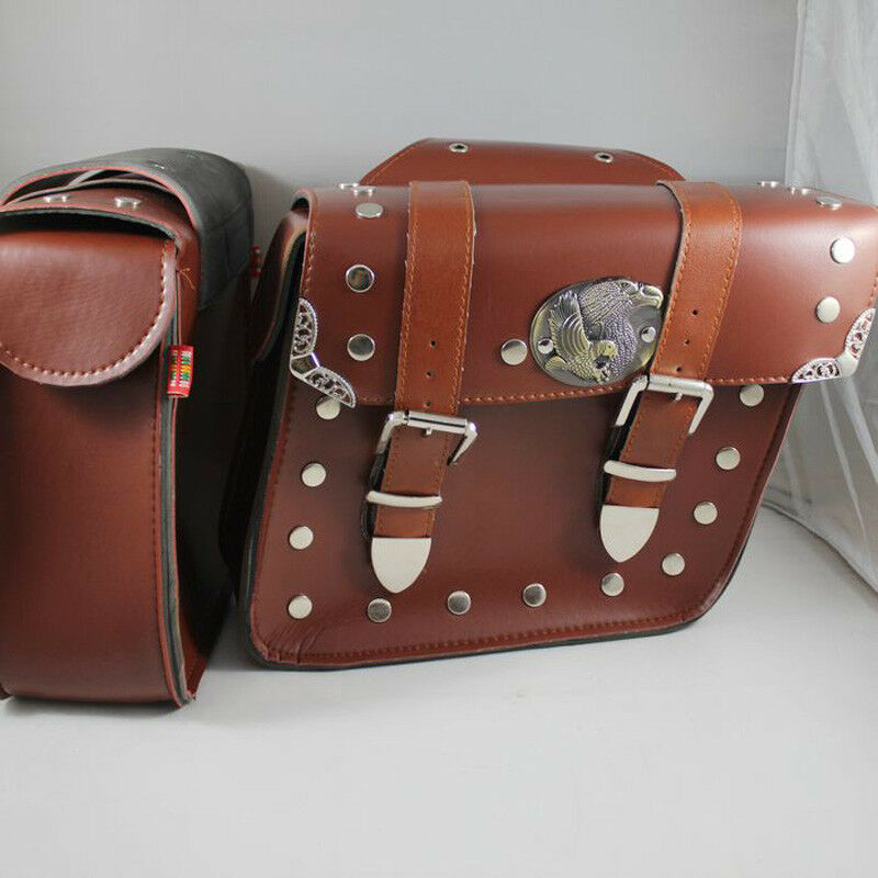 Studded Faux Leather Motorcycle Pannier Saddlebags Brown Bag Ebay