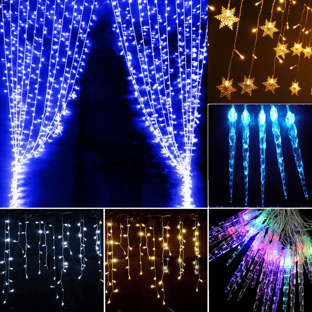 Icicle hanging snowing curtain lights window fairy Hanging christmas lights