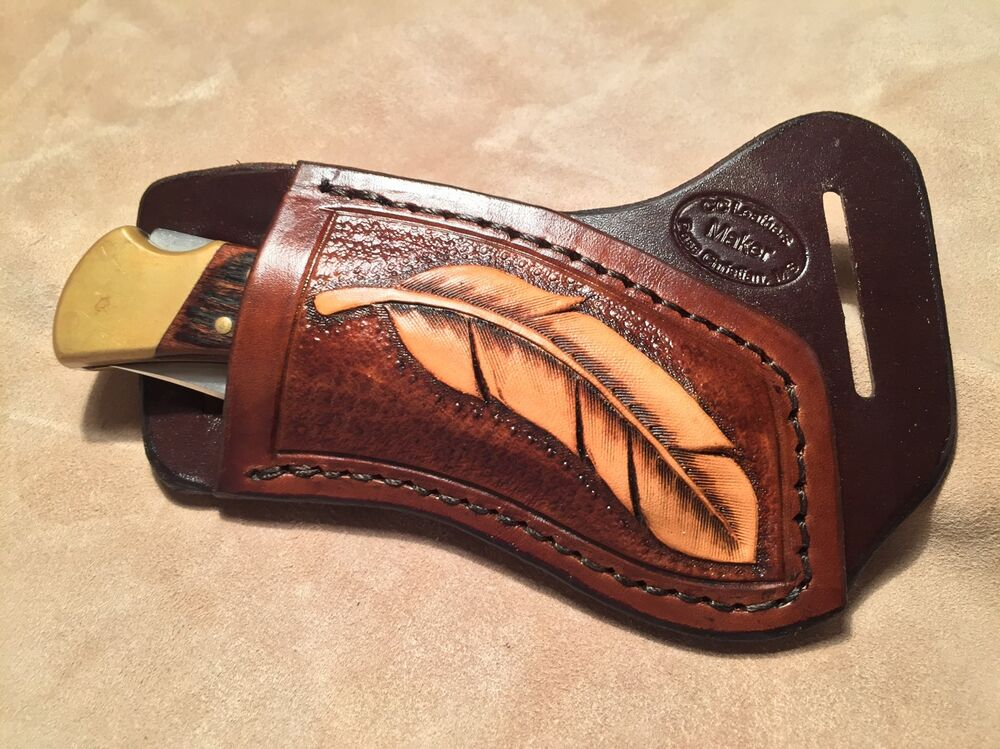 Custom Leather Crossdraw Sheath w/feather for BUCK 110 ...