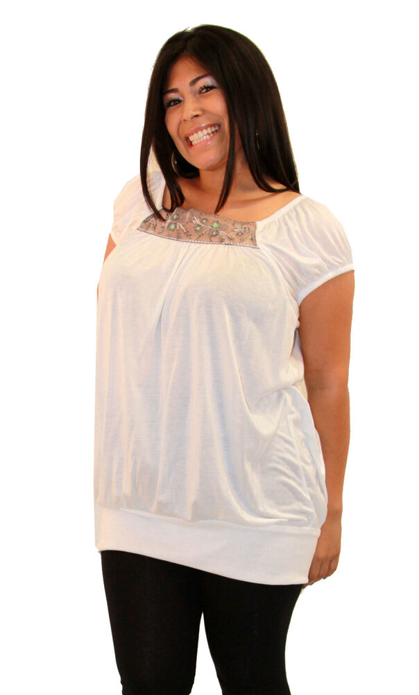 Plus Size Womens Short Sleeve White Gray Detail Top Soft ...