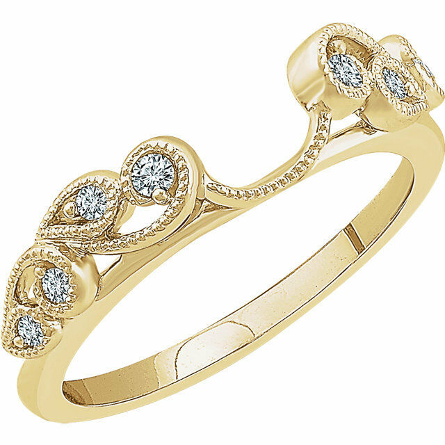 14k Yellow Gold Diamonds Vintage Solitaire Wrap Ring Guard
