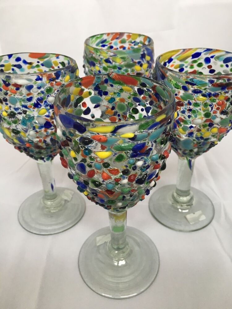 Set Of 4 Mexican Confetti With Color Pebbles Handblown