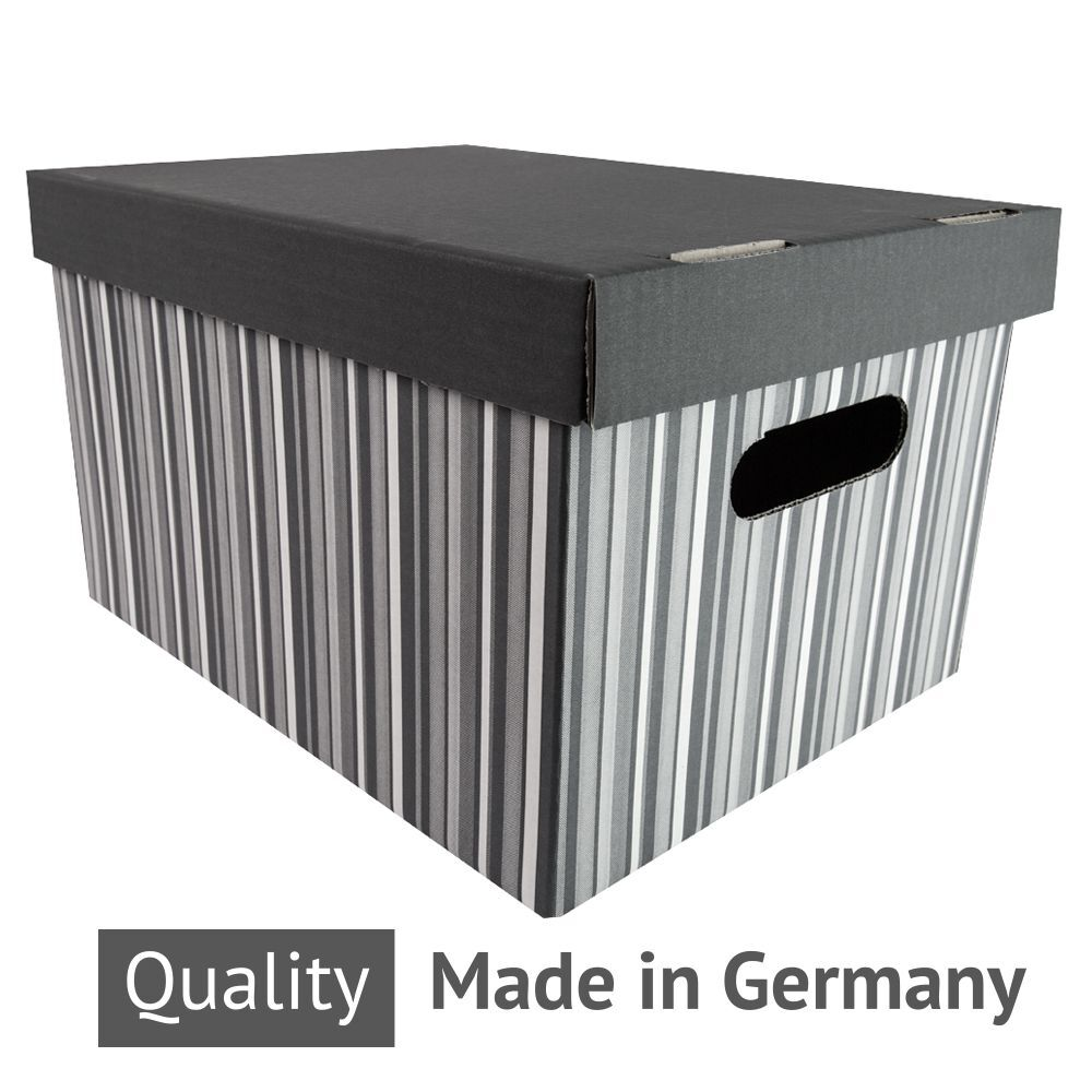 10 stk graue aufbewahrungsbox schachtel karton mit deckel a4 neu 35x21x26cm 19l ebay. Black Bedroom Furniture Sets. Home Design Ideas