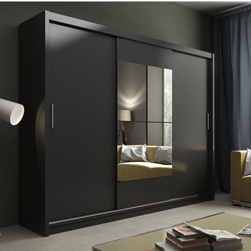 wardrobe with sliding doors and mirror kier black led light ebay