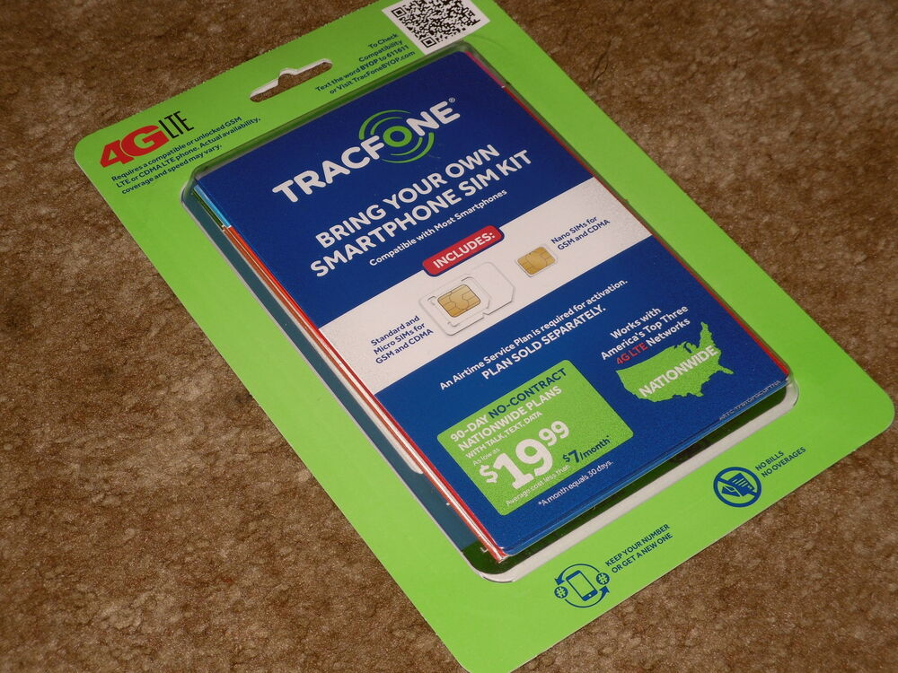 TRACFONE BYOP Bring Your Own PHONE Sim Card Activation Kit TRIPLE