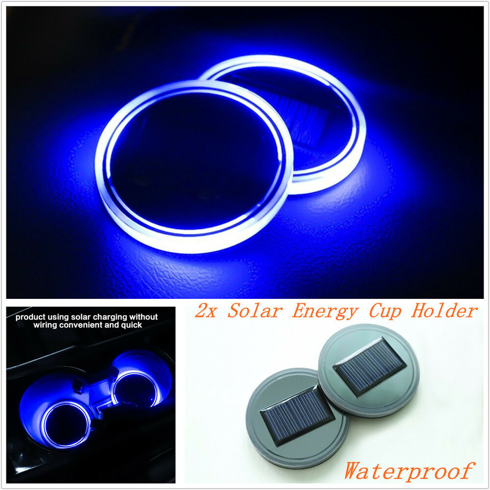 2pc solar cup holder bottom pad led light cover interior trim decor for all cars ebay. Black Bedroom Furniture Sets. Home Design Ideas