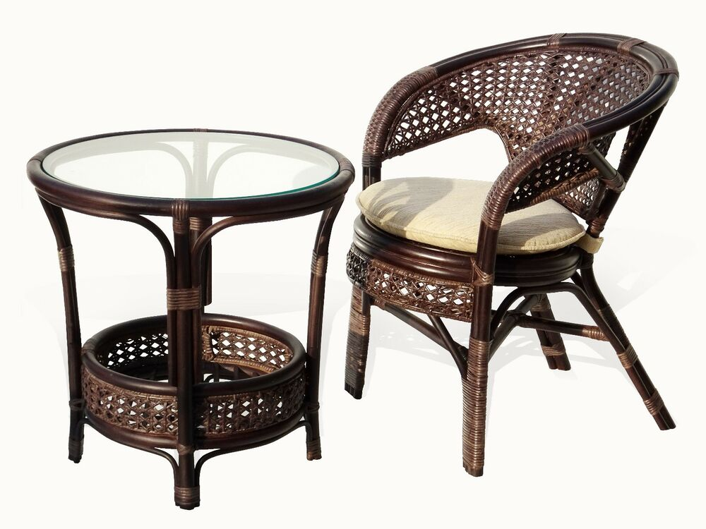dining lounge set pilangi round table chair rattan wicker dark brown ebay. Black Bedroom Furniture Sets. Home Design Ideas