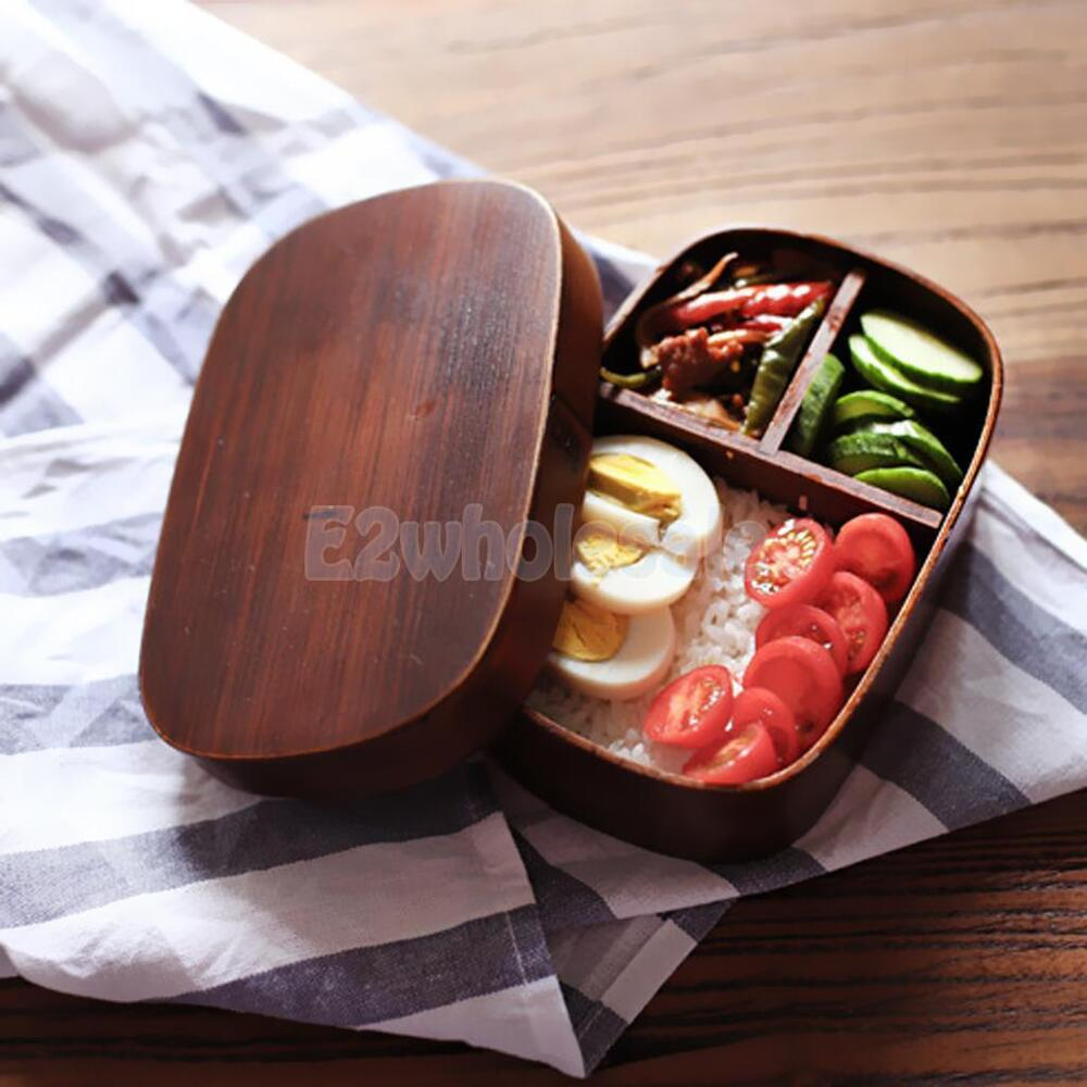 home wood oval shaped bento lunch sushi food box tableware bowl container 1 ebay. Black Bedroom Furniture Sets. Home Design Ideas