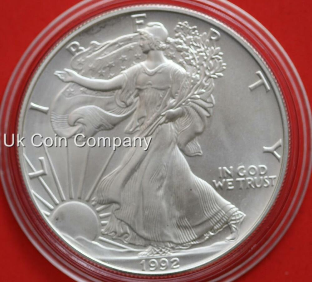 1992 American 1oz Fine Silver Liberty Eagle 1 One Dollar