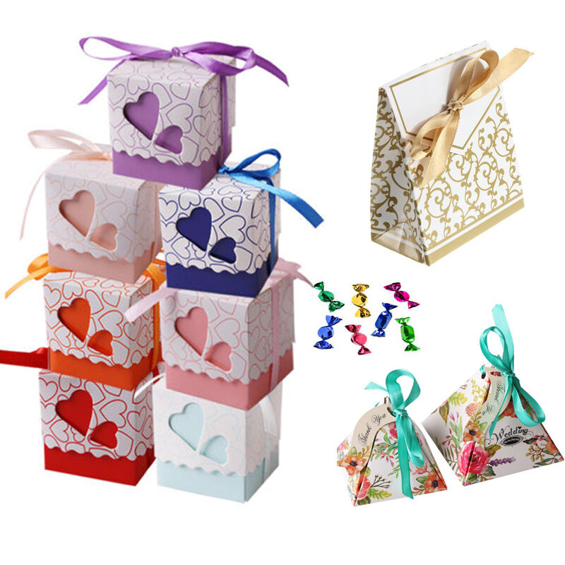 Gift Boxes For Weddings: 1//50/100Pcs 3 Style Favor Ribbon Gift Box Candy Boxes