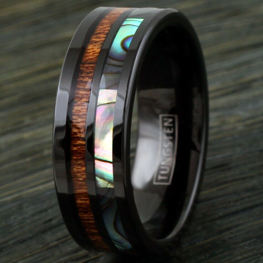 8mm Black Men S Ring Tungsten Hawaiian Koa Wood Abalone