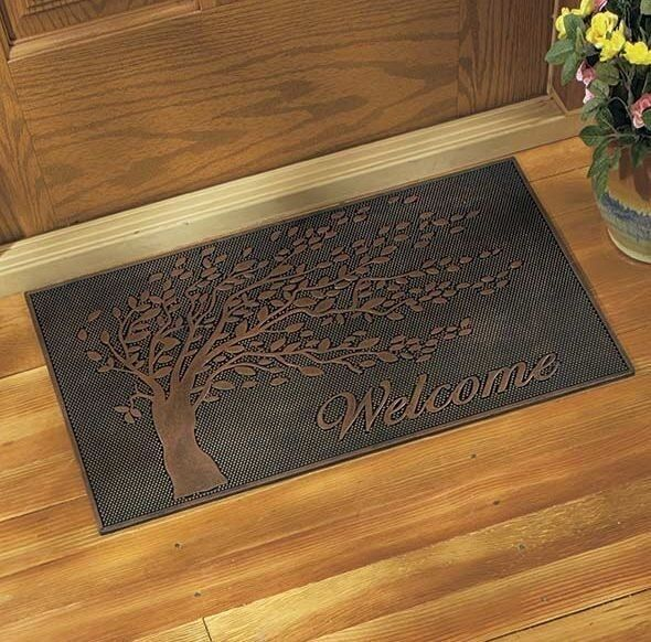 rubber metallic front door welcome mat doormat tree design. Black Bedroom Furniture Sets. Home Design Ideas