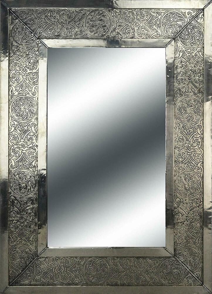 Large Rectangular Moroccan Mirror Hammered Insert Painting