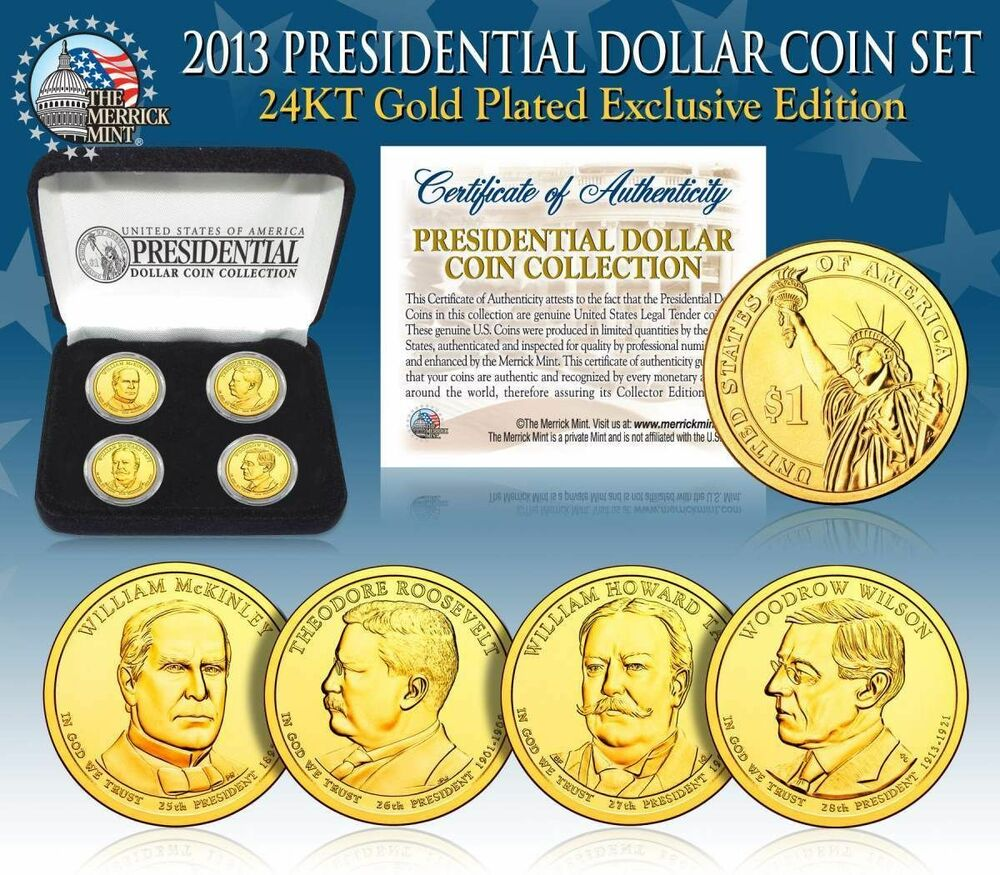 2013 Usa Mint Gold Presidential 1 Dollar 4 Coins Set With
