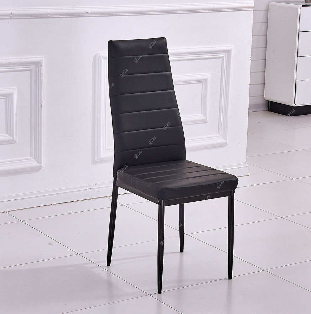 Black Leather Kitchen Chairs: Modern Dining Room 2/4/6 Chair Faux Leather Seat Pad High