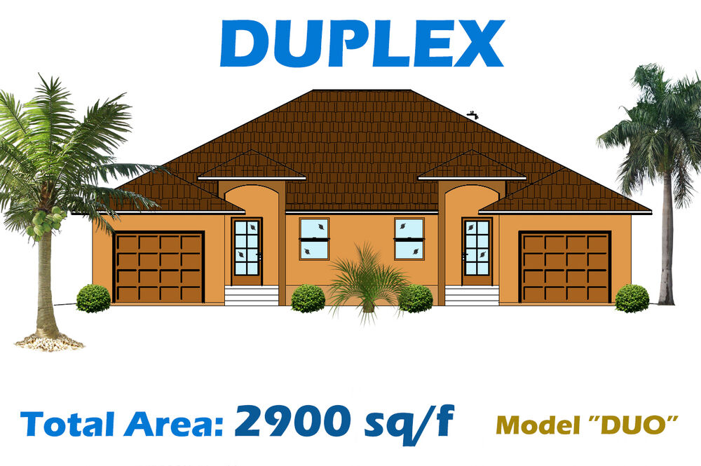 2 900 sq ft custom duplex home plan house blueprints for Complete set of house plans pdf