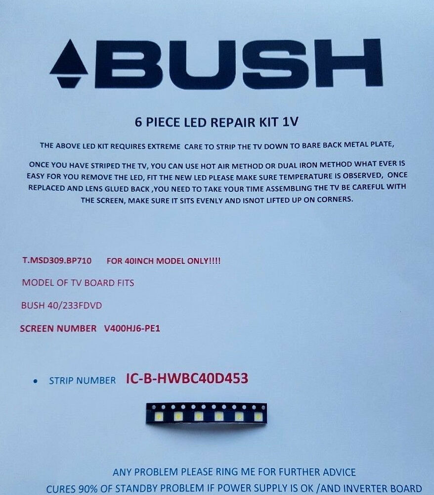 Buy Bush Tv Boards Parts Components Ebay 17pw25 4 Circuit Diagram 40 233fdvd V400hj6 Pe1 Ic B Hwbc40d453 10 Piece Led Repair