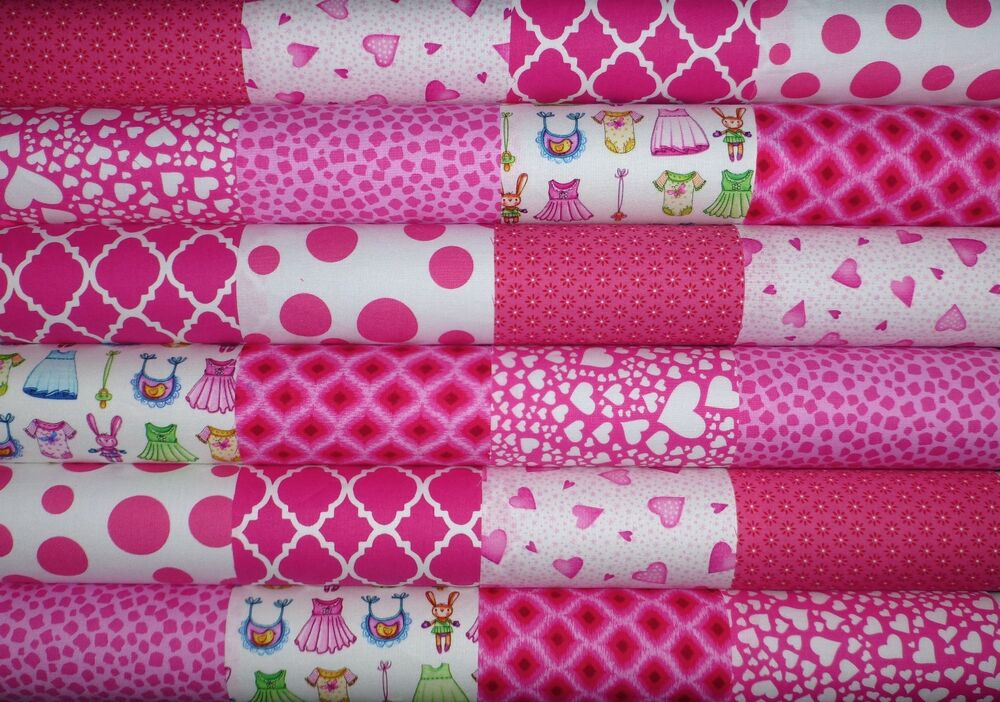 24 bright pink childrencotton fabric quilting patchwork 5 for Bright childrens fabric
