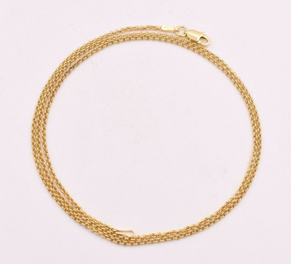 9a4146ee3d7aa1 Details about 1.5mm Technibond Round Rolo Chain Necklace 14K Yellow Gold  Clad Silver 925 ITALY
