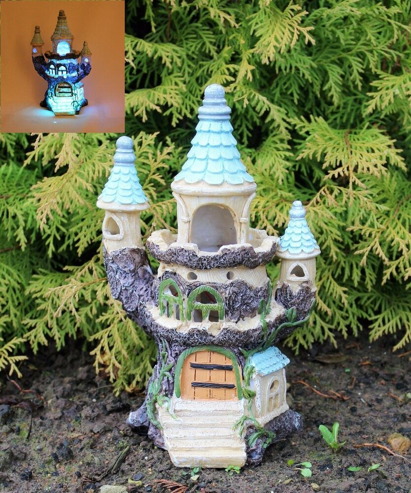 solar powered light decorative secret fairy garden On outdoor house ornaments