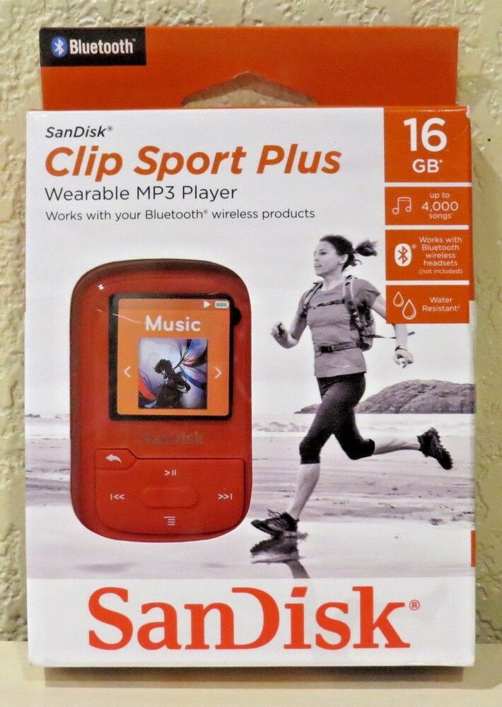 sandisk clip sport plus 16gb bluetooth mp3 player red new free shipping ebay. Black Bedroom Furniture Sets. Home Design Ideas