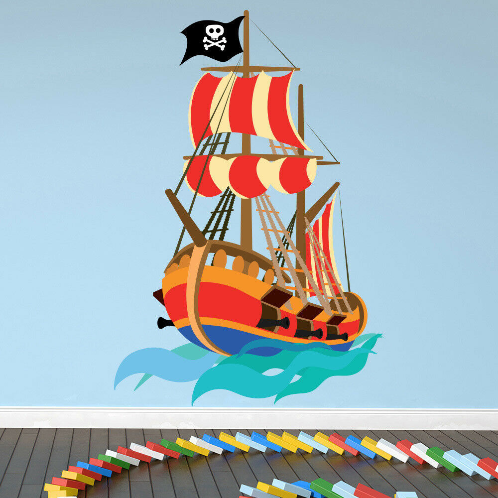 pirate wall sticker pirate ship wall decal kids boys. Black Bedroom Furniture Sets. Home Design Ideas