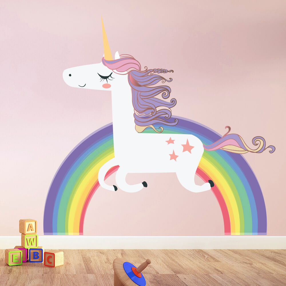 Unicorn wall sticker rainbow wall decal art girls bedroom for Home decorations ebay
